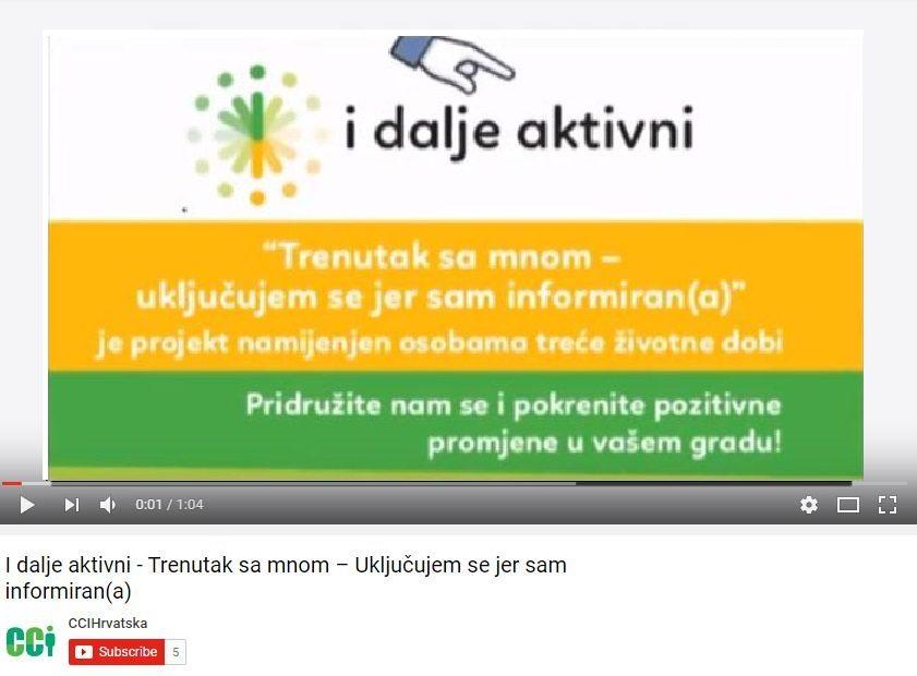 """Objavljen video uz projekt """"Trenutak sa mnom – Uključujem se jer sam informiran(a)"""""""
